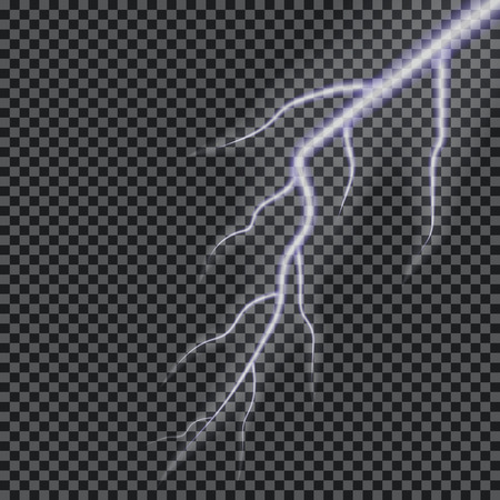 Lightning vector. Transparent lightning effect