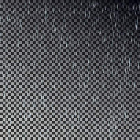 Rain drop transparent. Rain fall vector.