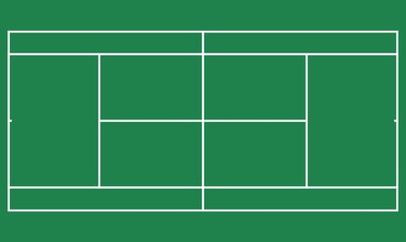 Flat green big tennis field, Top view of tennis court with line template. Vector stadium. Çizim