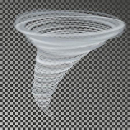 Tornado vector. Transparante stormwinder. Wervelsnelheid wind. Vector Illustratie