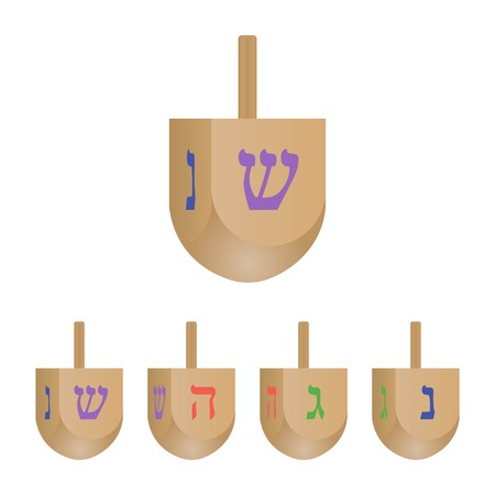 Set of Hanukkah dreidels icons isolated on white background. 3d dreidels with its letters of the Hebrew. Vector illustration