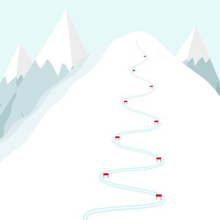 Pista de esquí de dibujos animados en la montaña de nieve. Rastro de esquí con banderas. Ilustración de vector plano
