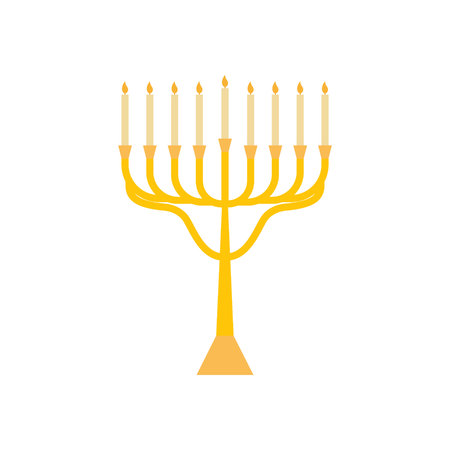 Menorah for Hanukkah, flat religion candles icon. Vector menorah illustration.