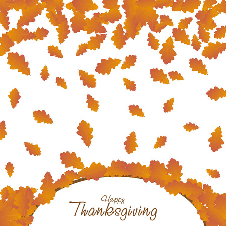 Happy Thanksgiving day background. Autumn falling leaves card. Vector thanksgiving illustration. Illustration