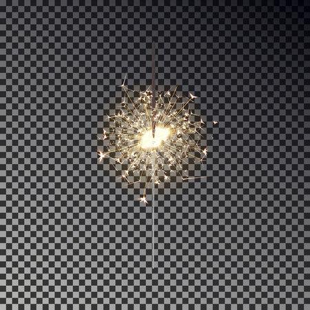 新年の線香花火が透明な背景に分離されました。リアルな透明な光の効果。誕生日、クリスマス、パーティーのお祝い花火装飾要素です。ベクトル  イラスト・ベクター素材
