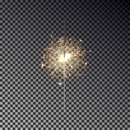 New year sparkler isolated on transparent background. Realistic transparent light effect. Festive sparkler decoration element for Birthday, Christmas, Party. Vector illustration. Иллюстрация