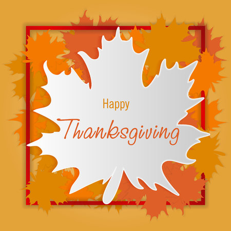 Happy Thanksgiving day background. Autumn falling leaves with border, greeting card. Vector thanksgiving illustration. Illustration