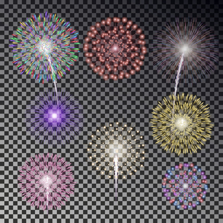 Christmas fireworks light effect isolated on dark background. Realistic firework decoration for New Year, Party, Birthday. Firecracker vector illustration. Illustration