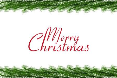 Merry Christmas text with christmas garland, vector border Illustration