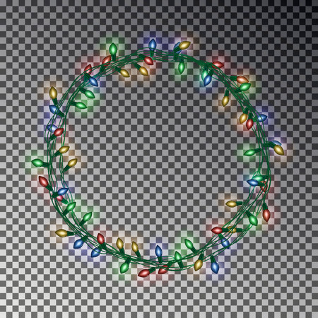 Christmas wreath light string. Realistic vector effect.