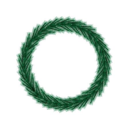 Christmas wreath. Round frame vector.