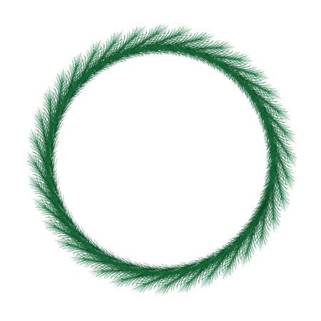 Thin christmas wreath. Round frame vector.