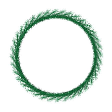 Thin christmas wreath. Round frame vector.