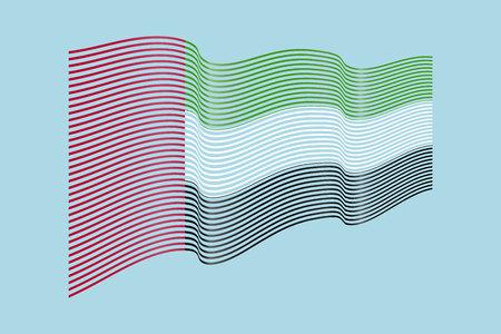 파란색 배경에 UAE 플래그 벡터입니다. 아랍 에미리트, 라인 일러스트 레이션의 파도 줄무늬 플래그입니다.