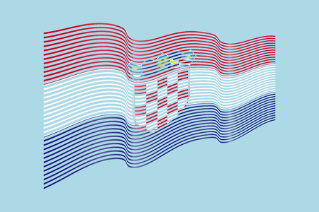 Croatia flag vector on blue background. Wave stripes flag, line illustration.