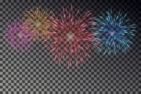 Colorful fireworks on sky. Firecracker vector isolated.