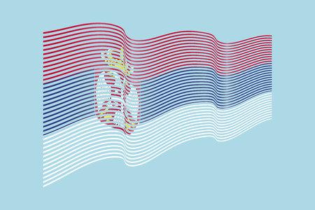 Serbia flag vector on blue background. Wave stripes flag, line illustration. Ilustração