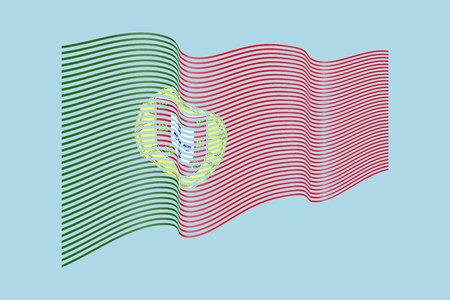Portugal vlag vector op blauwe achtergrond. Wave strepen vlag, lijn illustratie. Stock Illustratie