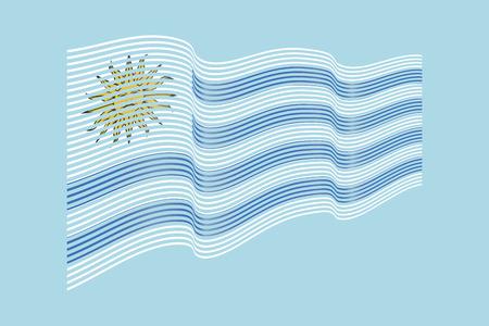 Uruguay flag vector on blue background. Wave stripes flag, line illustration.