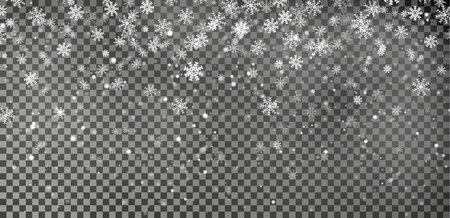 Snowflake background vector. Christmas snow fall decoration effect. Transparent pattern. Ilustração