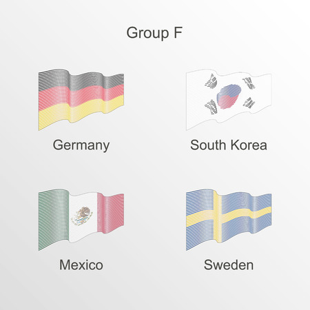 Flag group F vector. World football championship.