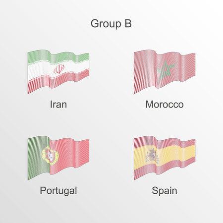 Flag group B vector. World football championship Illusztráció