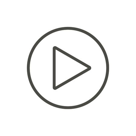 Play button, line icon. Vector outline media sign. 일러스트