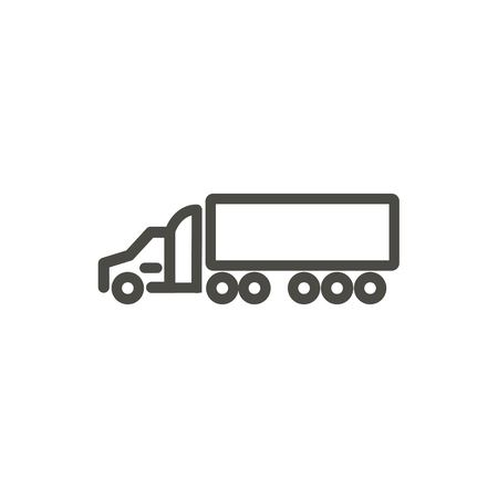 Trailer truck icon vector. Line transportation symbol.