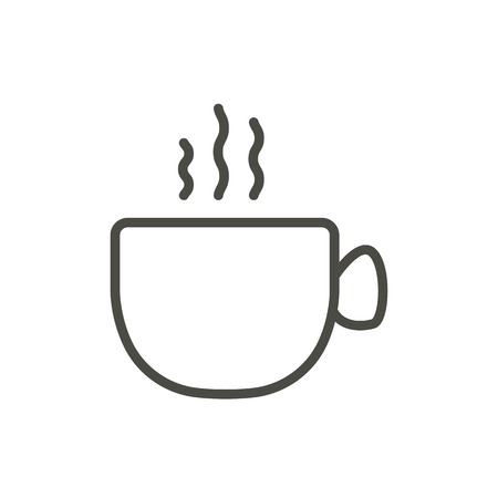 Coffee cup icon vector. Outline hot drink. Line coffee cup symbol.