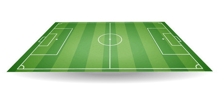 Top and side view of football field. Textured soccer field in perspective. Green playground background. Vector illustration.