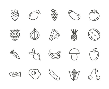 Fruit set icon vector. Outline fresh food collection. Trendy thin line style, web illustration.