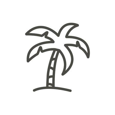 Palm icon vector. Line beach tree symbol isolated. Trendy flat outline ui sign design. Thin linear palm graphic pictogram for web site, mobile app. Logo illustration. 일러스트