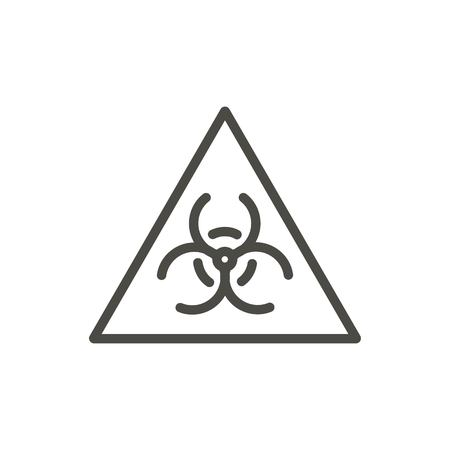 Biohazard warning icon vector. Line virus symbol isolated. Trendy flat caution outline ui sign design. Thin linear graphic pictogram for web site, mobile app. Logo illustration. Stock Illustratie