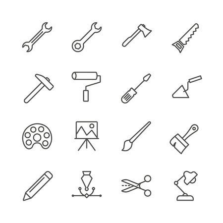 Arbeitswerkzeuge setzen Symbolvektor. Skizzieren Sie die Sammlung handgefertigter Werkzeuge. Trendy flaches Instrumentenschilddesign. Dünnes lineares grafisches Piktogramm isoliert für Website, mobile Anwendung. Logo Illustration.