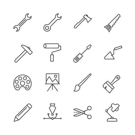 Work tools set icon vector. Outline handmade tools collection. Trendy flat instrument sign design. Thin linear graphic pictogram isolated for web site, mobile application. Logo illustration.