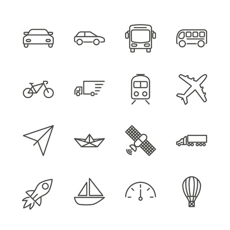 Transport set icon vector. Outline transportation collection. Trendy flat auto sign design. Thin linear graphic pictogram isolated for web site, mobile application. Logo illustration. Illustration