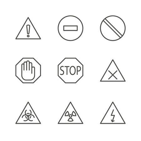 Warning set icon vector. Line caution symbol isolated. Trendy flat outline ui sign design. Thin linear danger graphic pictogram for web site, mobile app. Logo illustration. 向量圖像