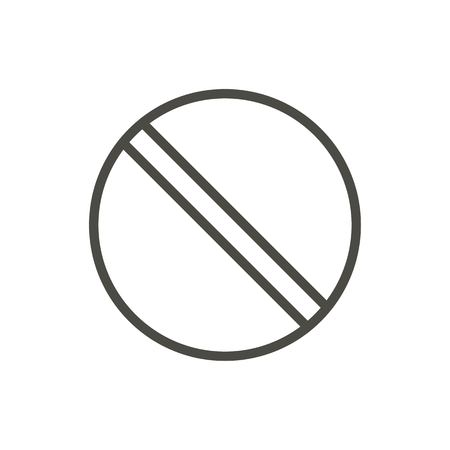 Prohibited icon vector. Line no symbol isolated. Trendy flat outline ui prohibition sign design. Thin linear graphic pictogram for web site, mobile app. Logo illustration. Ilustração