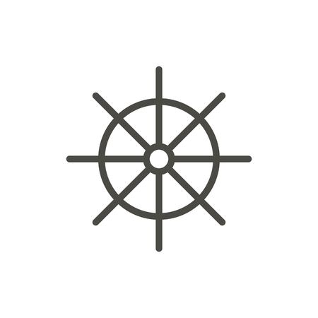Ship wheel icon vector. Line symbol isolated. Trendy flat outline ui sign design. Thin linear boat wheel graphic pictogram for web site, mobile app. Logo illustration. 向量圖像