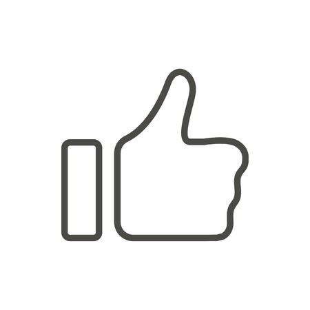 Thumb up icon vector. Line like symbol isolated. Trendy flat outline ui sign design. Thin linear like hand graphic pictogram for web site, mobile app. Logo illustration. Vectores