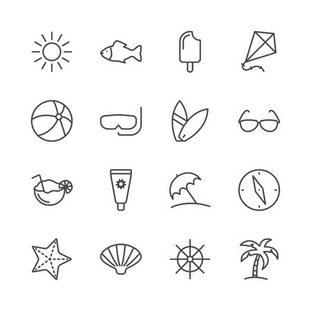 Summer set icon vector. Line recreation collection symbol isolated. Trendy flat outline travel ui sign design. Thin vacation graphic pictograms for web site, mobile app. Logo illustration.
