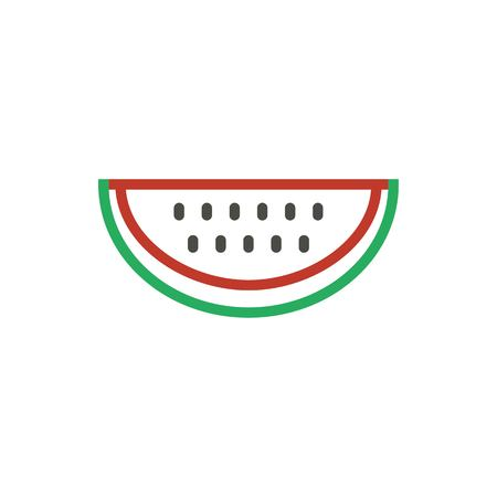 Watermelon red icon vector. Outline color fresh food, line watermelon symbol. Trendy flat ui sign design. Thin linear melon graphic pictogram for web site, mobile application. Logo illustration.