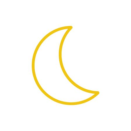 Yellow moon icon vector. Line color nature symbol isolated. Trendy flat weather outline ui sign design. Thin linear graphic pictogram for web site, mobile application. Logo moon illustration.