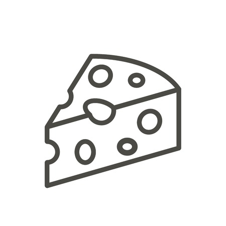 Cheese icon vector. Line milk product symbol isolated. Trendy flat outline ui sign design. Thin linear piece cheese graphic pictogram for web site, mobile application. Logo illustration. Иллюстрация