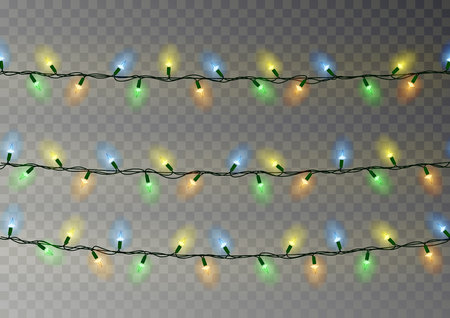 Christmas color lights string. Transparent effect decoration isolated on dark background. Realistic Christmas garland vector. Winter xmas glowing lights string, banner illustration.