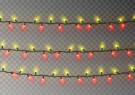 Christmas yellow red lights string. Transparent effect decoration isolated on dark background. Realistic Christmas garland vector. Winter xmas glowing lights string, banner illustration. 版權商用圖片 - 114898071