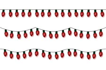 Christmas lights string vector, red garland set isolated on white. Garland balls. Glitter hanging old fashion light string.
