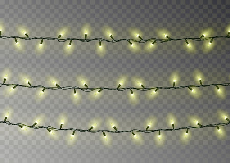 Christmas yellow lights string. Transparent effect decoration isolated on dark background. Realistic Christmas garland vector. Winter xmas glowing lights string, banner illustration. 版權商用圖片 - 114898078