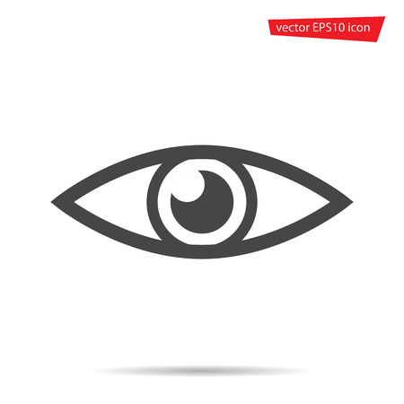 Eye icon. Flat view symbol isolated on white background. Trendy internet concept. Modern sign for web site button, mobile app, ui design. Logo illustration. Ilustração