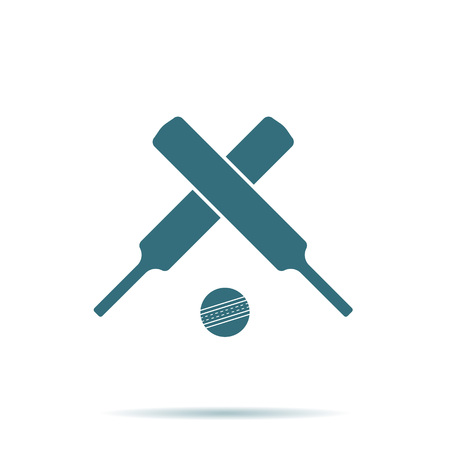 Crossed cricket bats, ball icon isolated on background. Modern simple flat sign. Business, internet concept. Trendy game vector symbol for web site design or button to mobile app. Logo illustration.